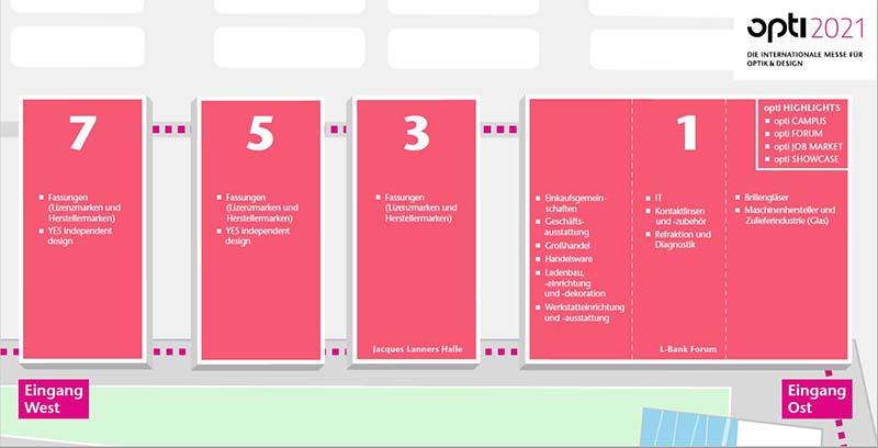 Schema des Hallenplans der opti 2021